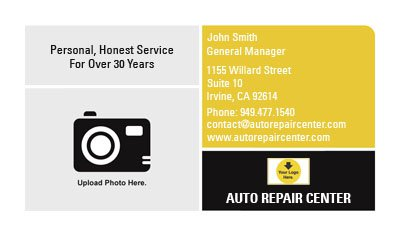 Black and Yellow Mechanic Business Card Template
